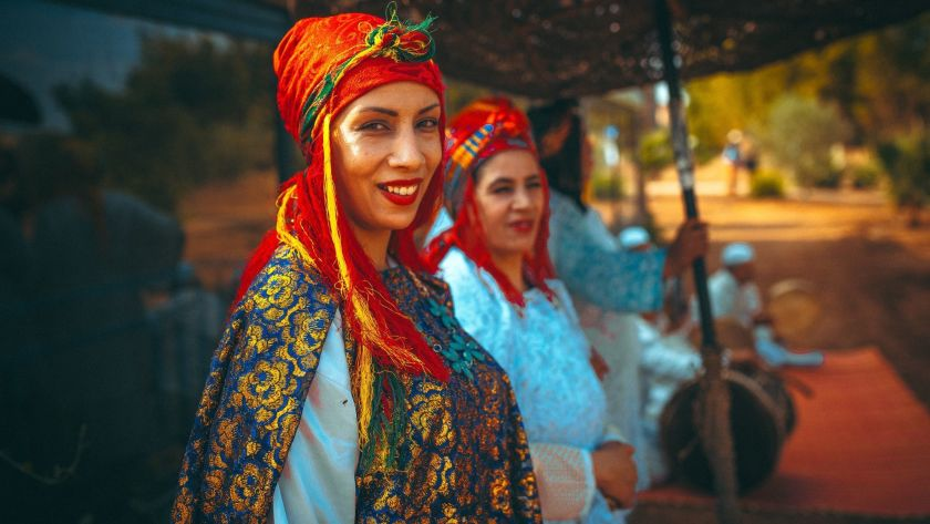 Traditional Moroccan musicians perform at the Oasis Festival in Marrakech